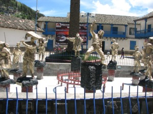 These represent the traditional dances that the town does during their festival in July